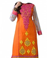 Orange Chiffon Suit- Indian Semi Party Dress