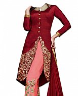 Maroon/Pink Chiffon Suit- Indian Semi Party Dress