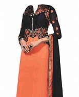 Black/Peach Georgette Suit- Indian Semi Party Dress