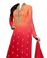 Orange/Red Chiffon Suit- Indian Semi Party Dress