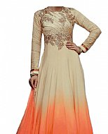 Ivory/Peach Chiffon Suit- Indian Semi Party Dress