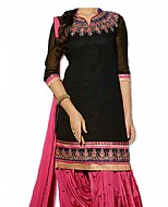 Black/Tea Pink Chiffon Suit- Indian Semi Party Dress