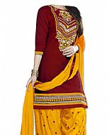 Maroon/Yellow Georgette Suit