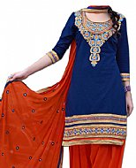 Royal Blue/Orange Georgette Suit