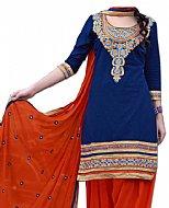 Royal Blue/Orange Georgette Suit