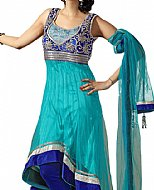 Turquoise/Blue Chiffon Suit- Indian Semi Party Dress