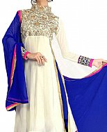 Off-white/Blue Georgette Suit- Indian Semi Party Dress
