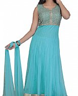 Light Turquoise Chiffon Suit- Indian Semi Party Dress
