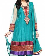 Turquoise Chiffon Suit- Pakistani clothes