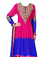 Hot Pink/Blue Chiffon Suit- Indian Semi Party Dress