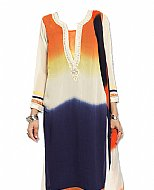 Rust/White/Blue Georgette Suit- Indian Dress