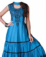 Blue Silk Suit- Indian Semi Party Dress