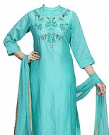 Light Turquoise Georgette Suit- Indian Semi Party Dress