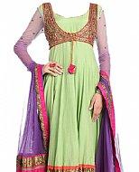 Light Green/Purple Chiffon Suit- Indian Semi Party Dress