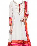 Off-white Chiffon Suit- Indian Semi Party Dress