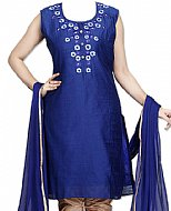 Navy Blue Silk Suit- Indian Semi Party Dress