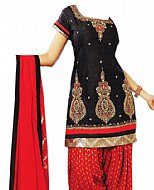 Black/Red Chiffon Suit- Indian Semi Party Dress