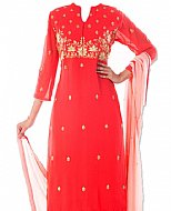 Red/Pink Chiffon Suit- Indian Semi Party Dress