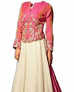 Pink/Off-white Chiffon Suit- Indian Semi Party Dress