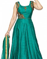 Teal Silk Suit- Indian Semi Party Dress