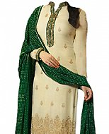 Ivory/Green Chiffon Suit- Indian Semi Party Dress