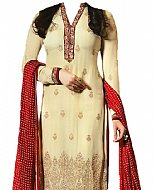Ivory/Red Chiffon Suit- Indian Semi Party Dress