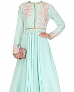 Light Sea Green Chiffon Suit- Indian Semi Party Dress