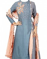 Grey/Peach Silk Suit- Indian Semi Party Dress