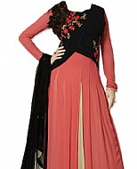 Peach/Black Chiffon Suit- Indian Semi Party Dress