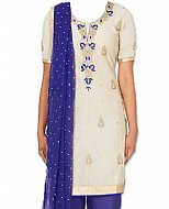 Off-white/Indigo Georgette Suit- Indian Semi Party Dress