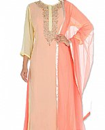 Peach/Yellow Chiffon Suit- Indian Semi Party Dress
