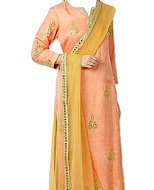 Peach/Mustard Silk Suit- Indian Semi Party Dress