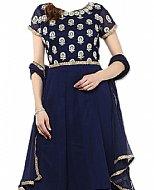 Blue Chiffon Suit- Indian Semi Party Dress