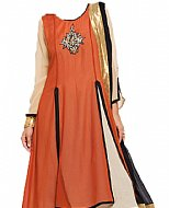 Rust/Black Chiffon Suit- Indian Semi Party Dress