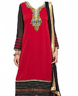 Red/Black Georgette Suit- Indian Semi Party Dress