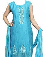 Turquoise Silk Suit- Pakistani clothes