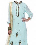 Light Blue Chiffon Suit- Indian Semi Party Dress