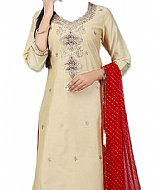 Ivory/Maroon Silk Suit- Indian Dress