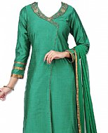 Teal Green Silk Suit- Indian Semi Party Dress