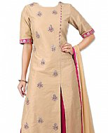 Beige/Pink Silk Suit- Indian Semi Party Dress
