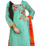 Turquoise Silk Suit- Indian Semi Party Dress
