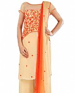 Ivory/Orange Chiffon Suit
