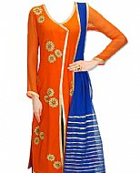 Orange/Blue Chiffon Suit- Indian Dress
