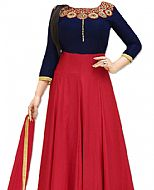 Blue/Red Georgette Suit- Indian Dress