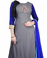 Grey/Blue Georgette Suit- Indian Semi Party Dress
