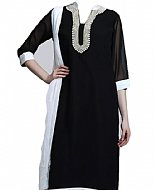 Black/White Chiffon Suit- Pakistani Casual Dress