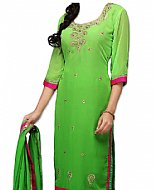 Parrot Green Chiffon Suit- Indian Semi Party Dress