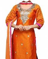 Orange Silk Suit- Indian Semi Party Dress