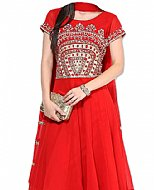 Red Chiffon Suit- Indian Semi Party Dress