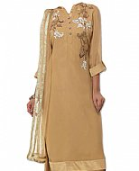 Golden Chiffon Suit- Indian Semi Party Dress